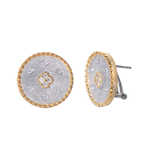 Clover-pattern Round Button Earrings