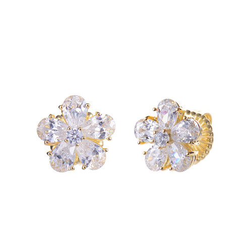 Flower Shape CZ Stud Vermeil Earrings