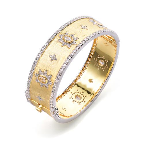 Star Pattern Vermeil Bangle Bracelet
