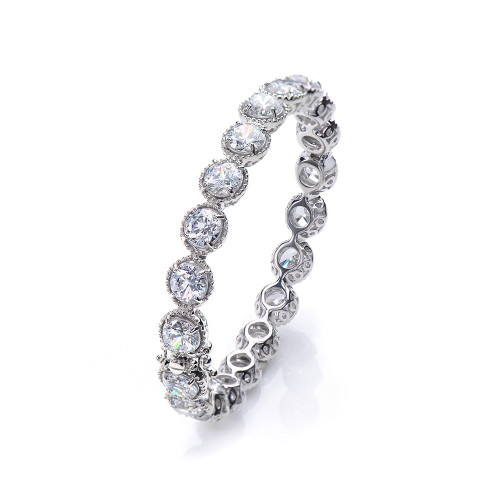All-around Round CZ Bangle Bracelet