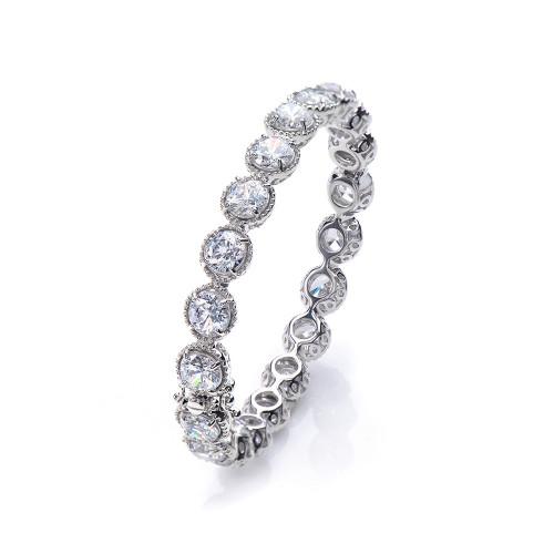 All-around Round CZ Bangle Bracelet