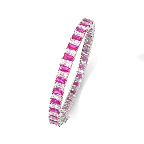 Skinny Baguette Lab-created Ruby & CZ Bangle