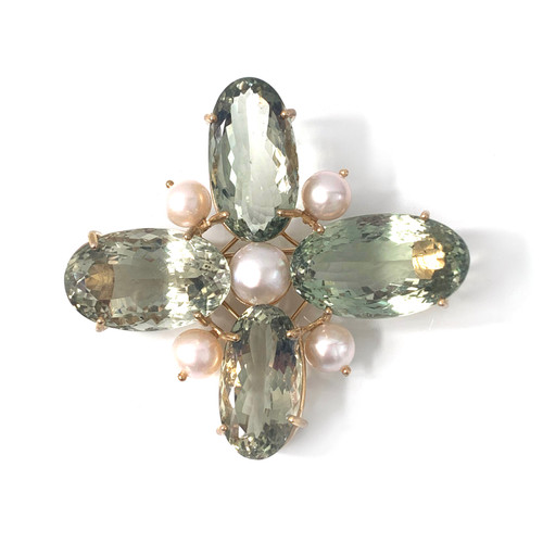 Green Amethyst and Cultured Pearl Cross Brooch