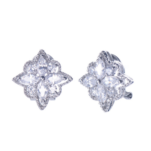 Flower CZ Clip-on Button Earrings