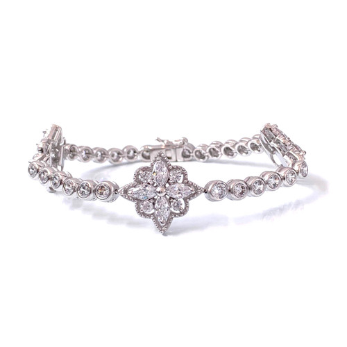 Halo Marquis Flower Station Bracelet