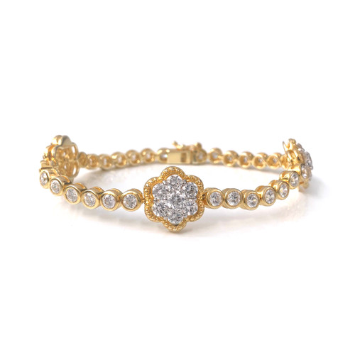 Halo Flower Vermeil Station Bracelet