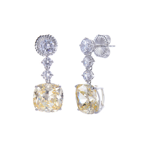 Cushion Cut Faux Canary Earrings