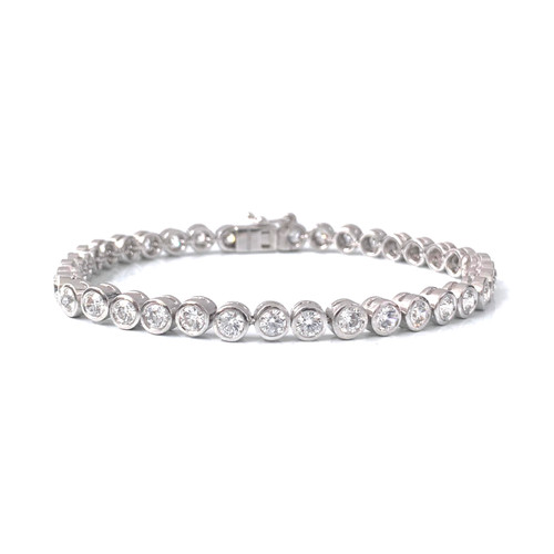 Bezel-set Faux Diamond  Tennis Bracelet