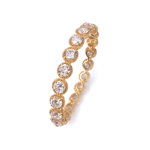 All-around Round CZ Vermeil Bangle Bracelet