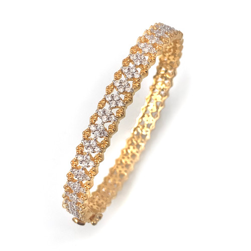 Skinny Diamond Pattern CZ Vermeil Bangle
