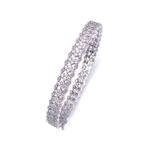 Skinny Diamond Pattern CZ Bangle