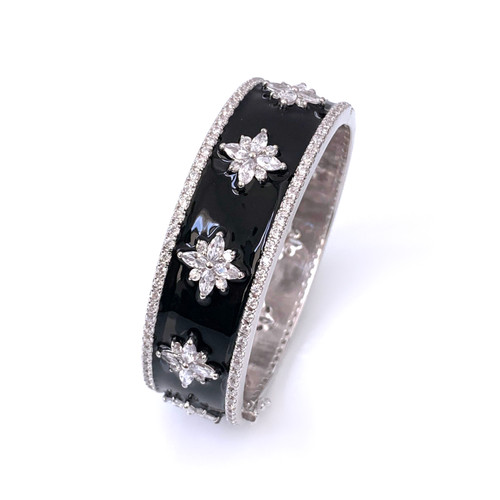 Flower Pattern Black Enamel CZ Bangle