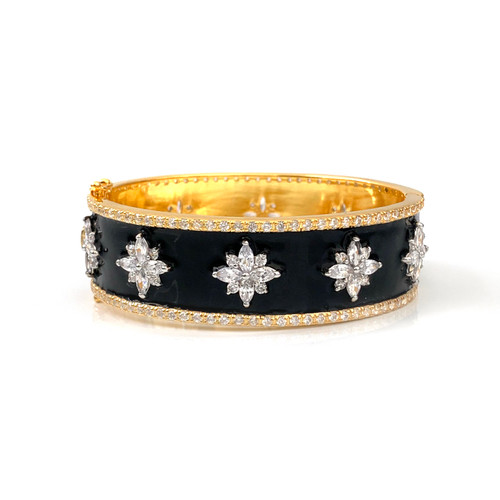 Flower Pattern Black Enamel Vermeil Bangle