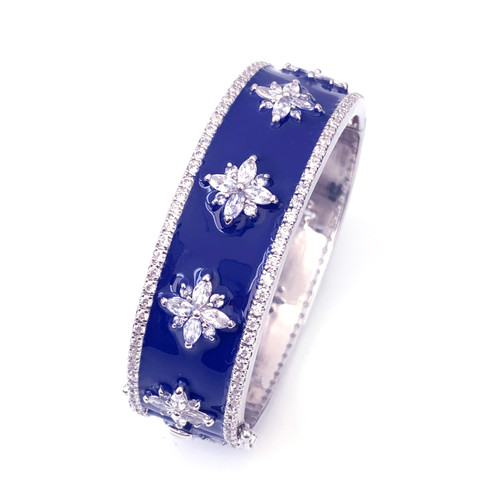 Flower Pattern Blue Enamel CZ Bangle