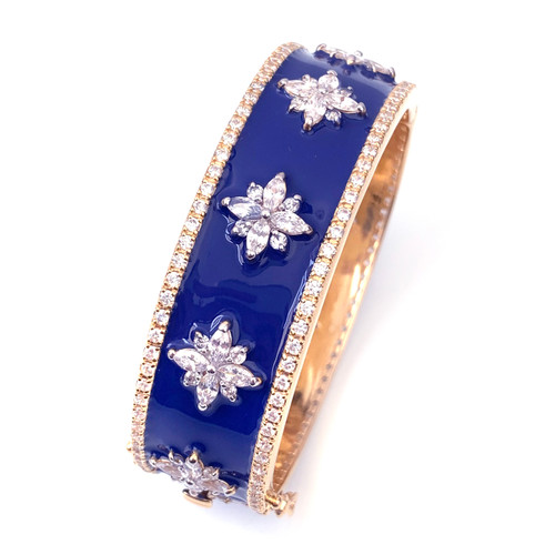Flower Pattern Blue Enamel Vermeil Bangle