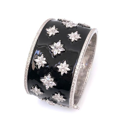 Flower Pattern Black Enamel Wide Bangle