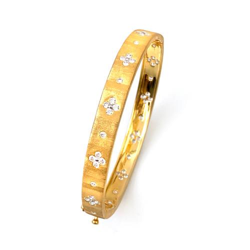 Clover Pattern Vermeil Skinny Bangle Bracelet