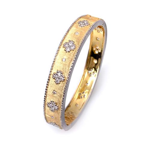 Clover Pattern Vermeil Narrow Bangle Bracelet