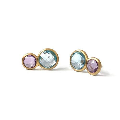 Double Round Amethyst & Blue Topaz Stud Earrings
