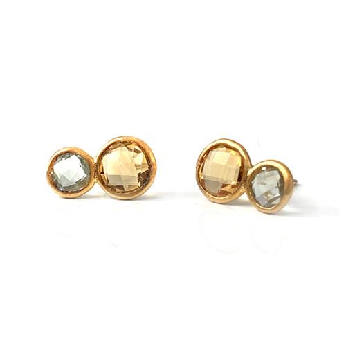 Double Round Citrine & Green Amethyst Stud Earrings