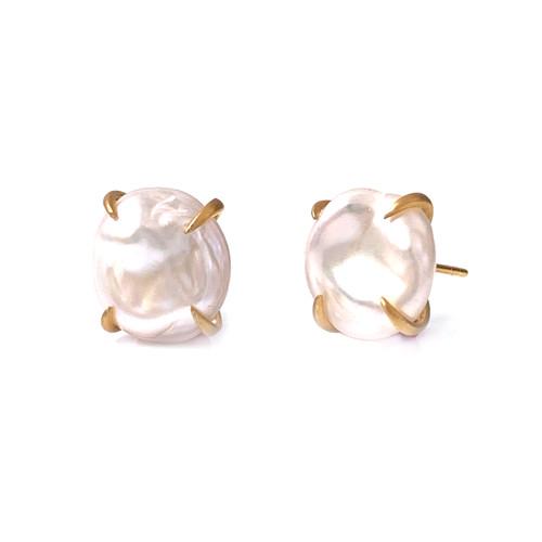 Cultured Baroque Pearl Stud Vermeil Earrings