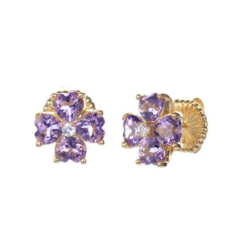Amethyst Flower Stud Earrings