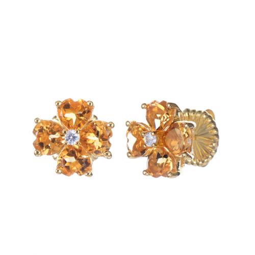 Citrine Flower Stud Earrings