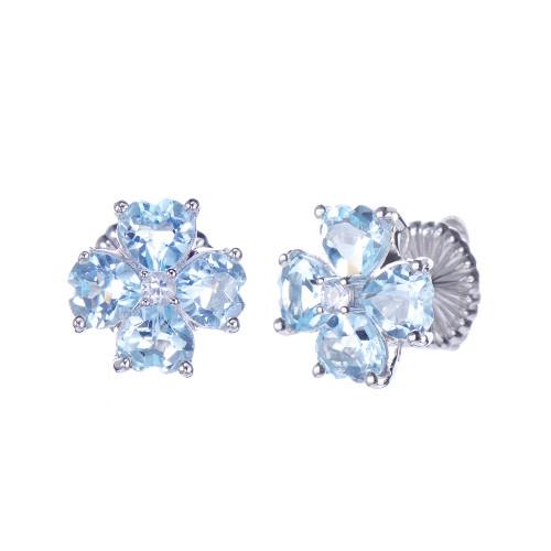 Blue Topaz Flower Stud Earrings