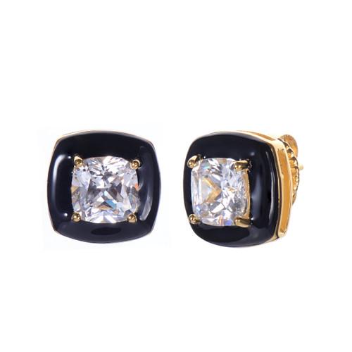 Cushion Black Enamel CZ Stud Earrings