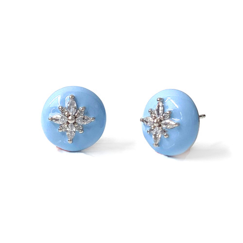 Flower Pattern Round Turquoise Enamel Stud Earrings