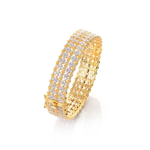 Diamond-pattern Vermeil Bangle