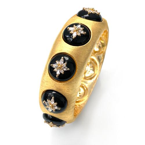Flower Pattern CZ Black Enamel Vermeil Bangle Bracelet
