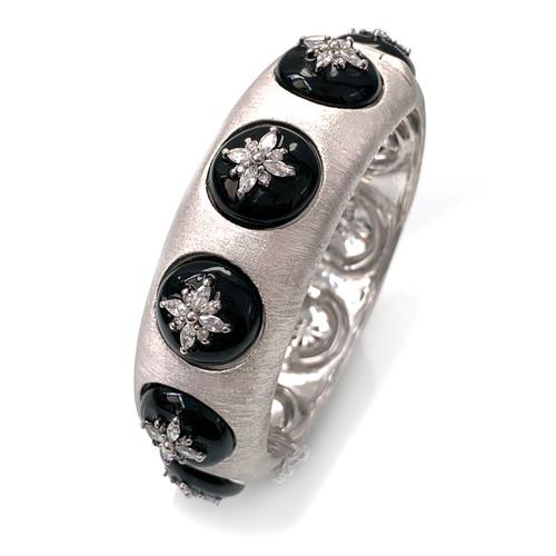 Flower Pattern CZ Black Enamel Bangle Bracelet