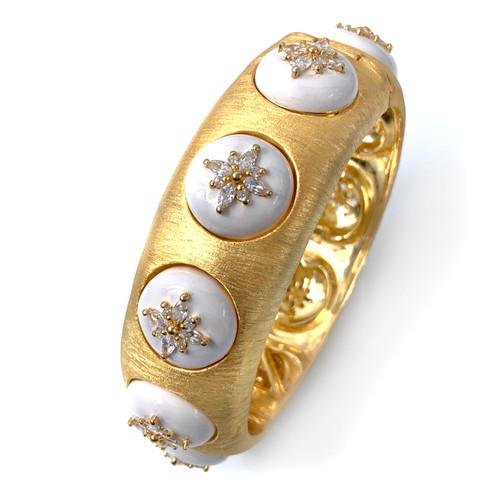 Flower Pattern CZ White Enamel Bangle Bracelet