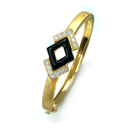 Geometric CZ Black Enamel Bangle Bracelet