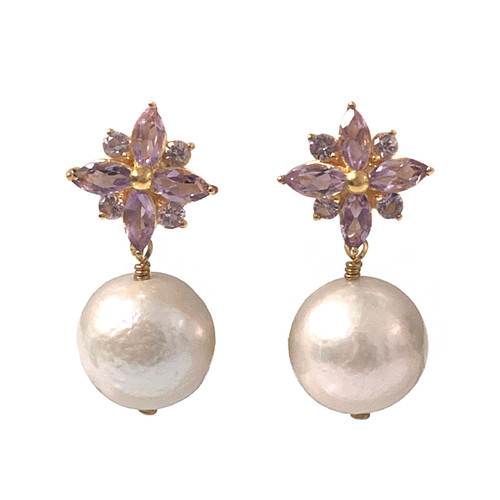 Amethyst Flower and White Pearl Drop Earrings