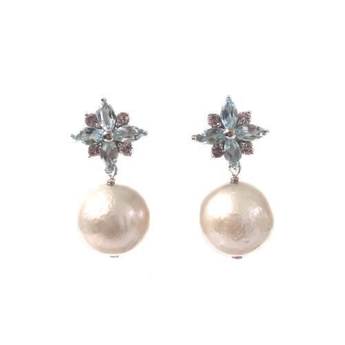 Blue Topaz Flower and White Pearl Drop Earrings