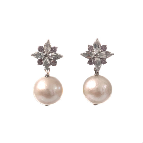 White Topaz Flower and White Pearl Drop Earrings