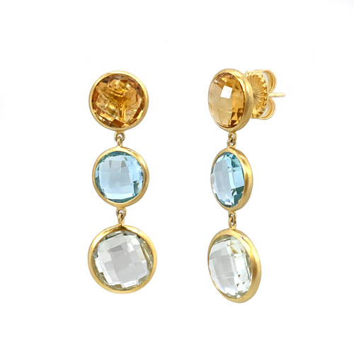 Triple Bezel Round Citrine Blue Topaz and Green Amethyst Drop Earrings