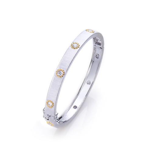 Skinny Engraved Two-tone Bangle Bracelet