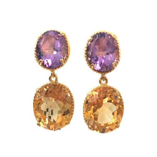 Double Oval Amethyst and Citrine Drop Earrings
