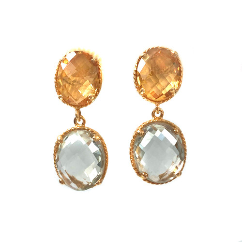 Double Oval Citrine and Green Amethyst Drop Earrings