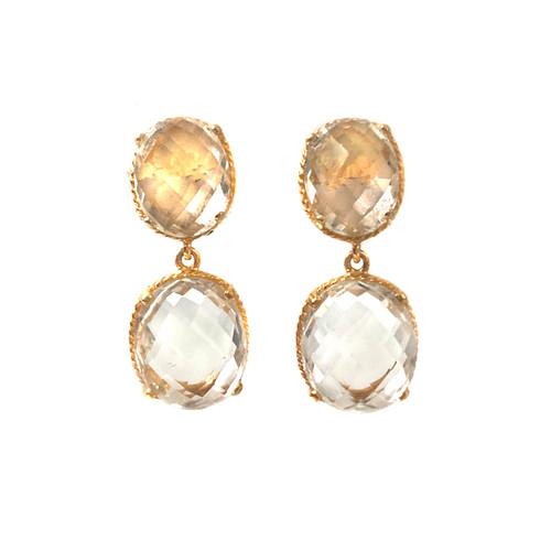 Double Oval White Topaz Drop Earrings