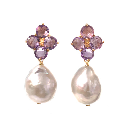 Round Briolette Amethyst and Baroque Pearl Drop Earrings