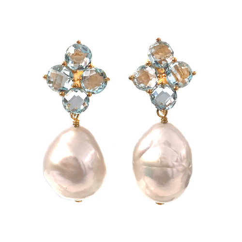 Round Briolette Blue Topaz and Baroque Pearl Drop Earrings