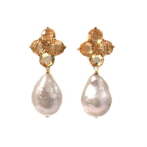 Round Briolette Citrine and Baroque Pearl Drop Earrings