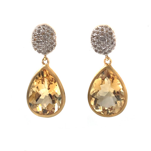 Pave White Topaz and Pear Citrine Drop Earrings