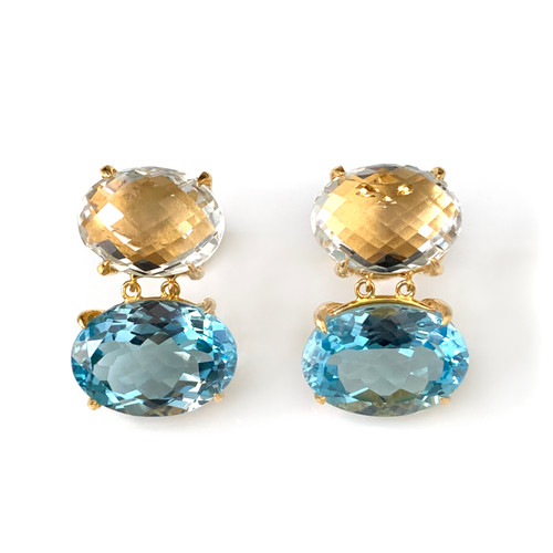 Double Oval Large Green Amethyst and Blue Topaz Drop Earrings