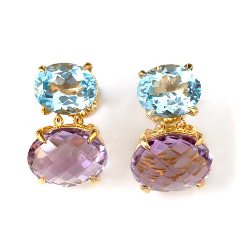 Double Oval Med Blue Topaz and Amethyst Drop Vermeil Earrings