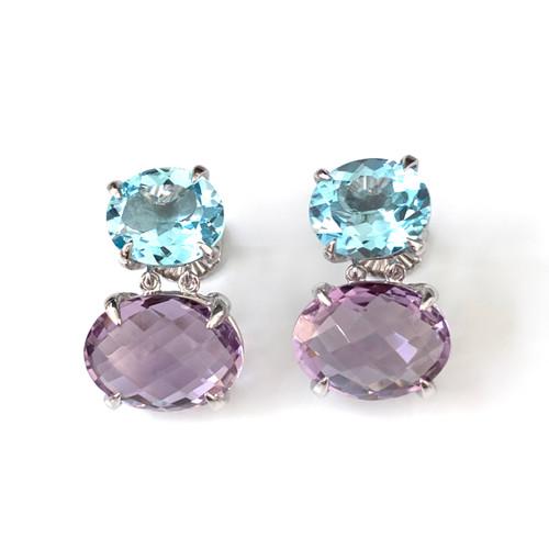 Double Oval Med Blue Topaz and Amethyst Drop Earrings